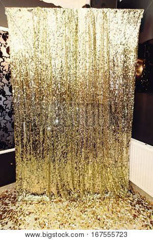 Stylish Luxury Sparkle Zone For Photos At The Golden Birthday Party, Holiday Celebration Concept