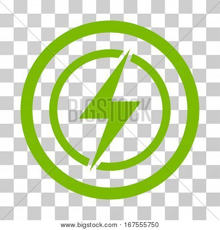 Electrical Hazard rounded icon. Vector illustration style is flat iconic symbol inside a circle eco green color transparent background. Designed for web and software interfaces.