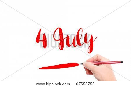 4 July written by hand on a white background