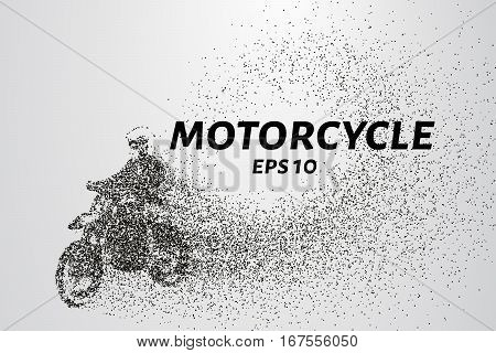 Motorcycle of the particles. Motorbike consists of circles and points. Vector illustration