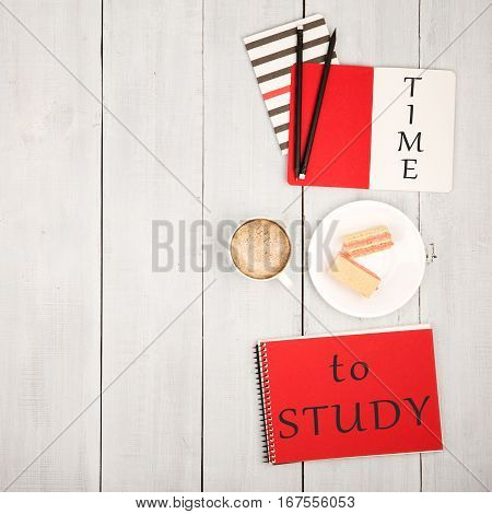Office Table With Notepads And Inscription