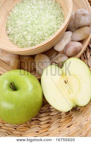 bowl of apple bath salt and some fresh fruits
