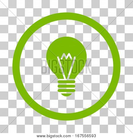 Hint Bulb rounded icon. Vector illustration style is flat iconic symbol inside a circle eco green color transparent background. Designed for web and software interfaces.