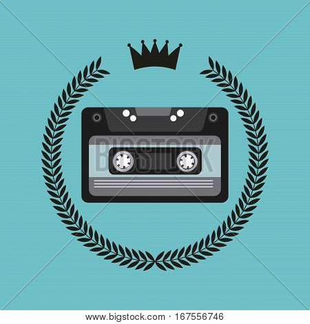 hipster emblem with casette icon over blue background. colorful design. vector illustration