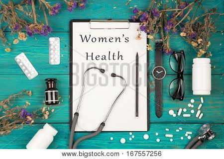 Stethoscope, Medicine Clipboard With Text