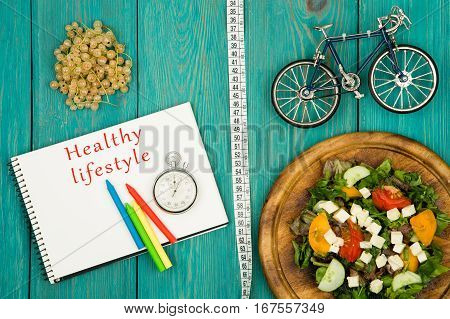 Bicycle Model, Salad Of Fresh Vegetables, Notepad With Text