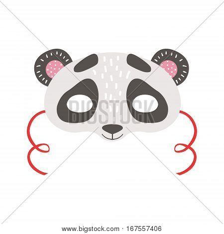 Panda Bear Animal Head Mask, Kids Carnival Disguise Costume Element. Children Masquerade Party Paper Mask Colorful Cartoon Vector Illustration.