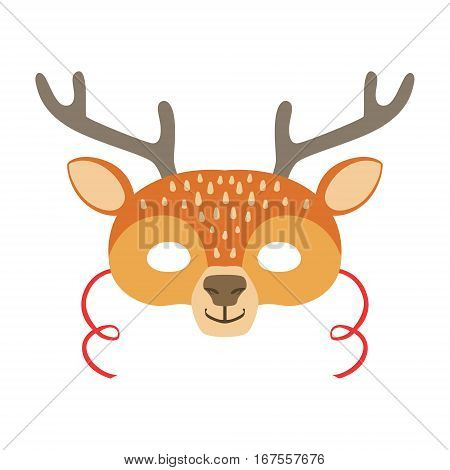 Deer Animal Head Mask, Kids Carnival Disguise Costume Element. Children Masquerade Party Paper Mask Colorful Cartoon Vector Illustration.