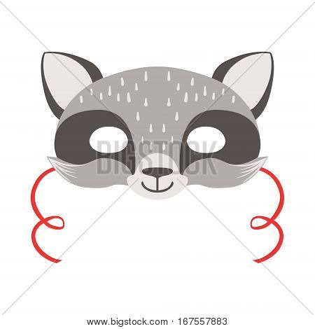 Raccoon Animal Head Mask, Kids Carnival Disguise Costume Element. Children Masquerade Party Paper Mask Colorful Cartoon Vector Illustration.