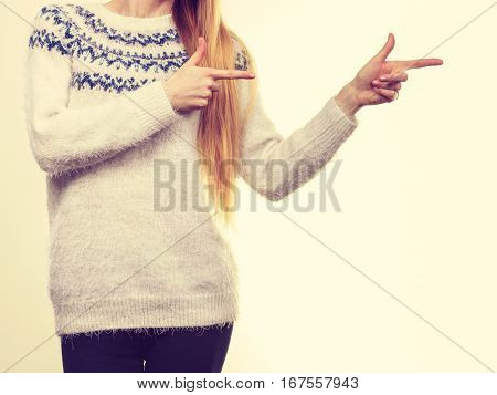 Woman Legs In Black Trousers And Furry Jumper
