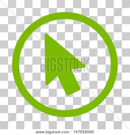 Mouse Pointer rounded icon. Vector illustration style is flat iconic symbol inside a circle eco green color transparent background. Designed for web and software interfaces.