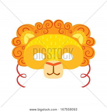 Lion Animal Head Mask, Kids Carnival Disguise Costume Element. Children Masquerade Party Paper Mask Colorful Cartoon Vector Illustration.