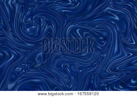 Marble abstract background. Mesh liquid surface digital illustration. Agate stone texture with navy blue drips. Suminagashi marbling paper. Abstract color mixture for web design or digital paper