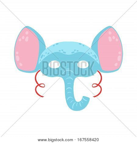 Elephant Animal Head Mask, Kids Carnival Disguise Costume Element. Children Masquerade Party Paper Mask Colorful Cartoon Vector Illustration.