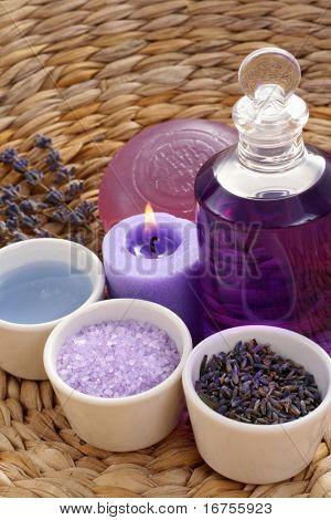 aromatic lavender bath - bath salt bath gel and lavender flowers