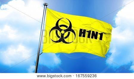 H1N1 flag, 3D rendering