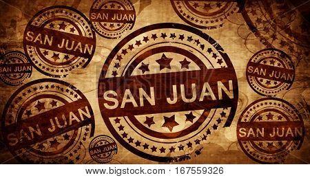 san juan, vintage stamp on paper background