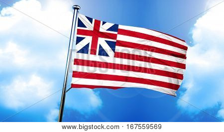 Grand union american early design flag, 3D rendering
