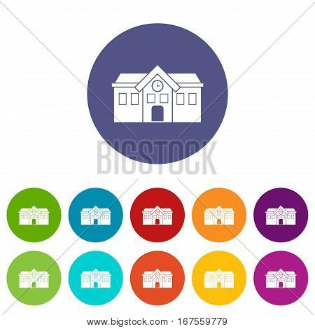 Chapel set icons in different colors isolated on white background