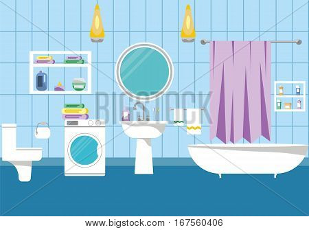 Bathroom interior design with toilet and bathtub, vector illustration. Modern bathroom background with lavatory and washbowl.