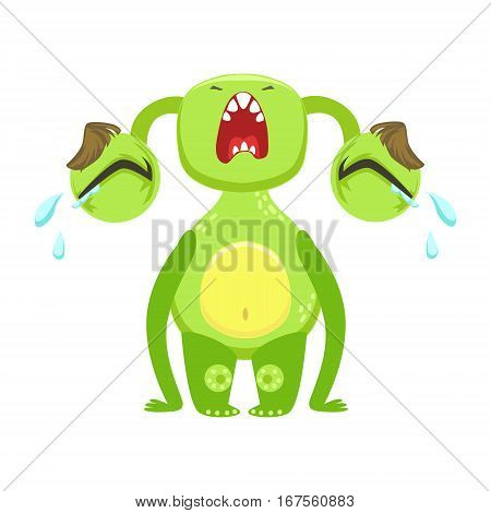 Funny Monster Crying Out Loud, Green Alien Emoji Cartoon Character Sticker. Cute Fantastic Creature Emoticon Flat Vector Illustration