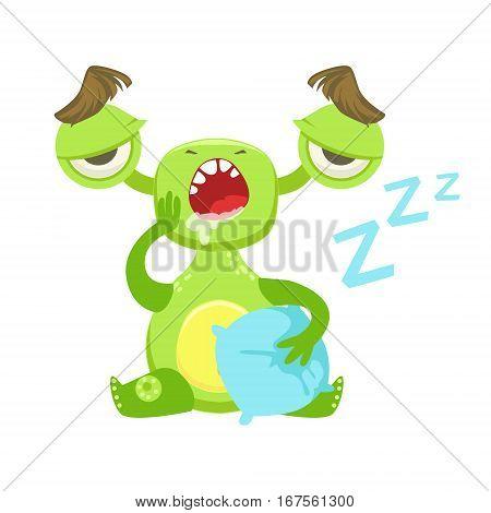 Sleepy Funny Monster Yawning WIth Pillow, Green Alien Emoji Cartoon Character Sticker. Cute Fantastic Creature Emoticon Flat Vector Illustration
