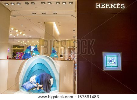 LAS VEGAS - NOV 08 : Exterior of a Hermes store in Las Vegas strip on November 08 2016. Hermes is famous luxury brand existing since 1837.