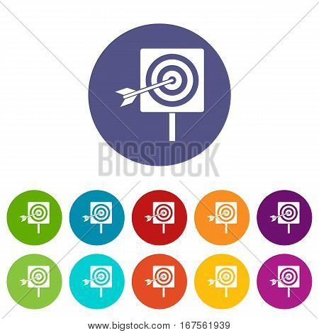 Darts set icons in different colors isolated on white background
