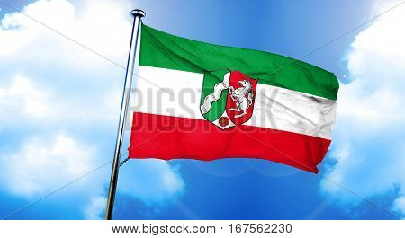 Nordrhein westfalen, north rhine flag, 3D rendering