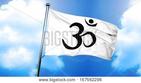 Om / aum symbol flag, 3D rendering