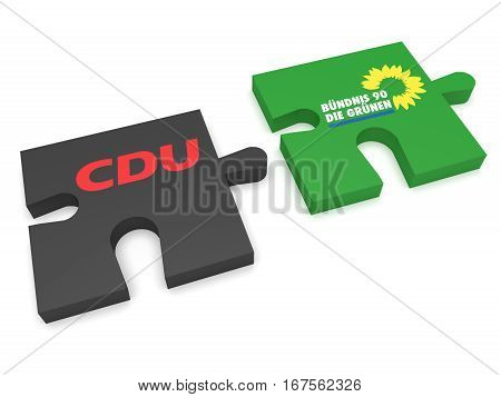 BERLIN GERMANY - JANUARY 30 2017: German Politics Coalition Formation Concept: Puzzle Pieces CDU And The Greens 3d illustration on white background