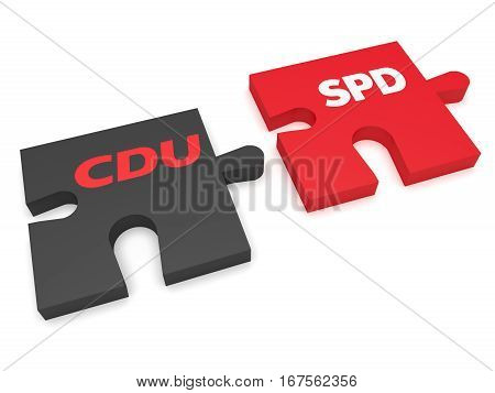 BERLIN GERMANY - JANUARY 30 2017: German Politics Coalition Formation Concept: Puzzle Pieces CDU And SPD 3d illustration on white background