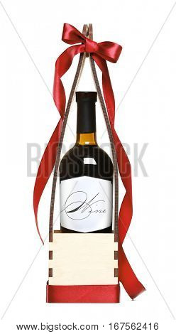 St. Valentines Day concept. Wine bottle in gift box with satin ribbon isolated on white