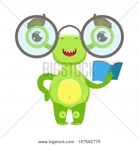 Clever Funny Monster With Glasses And Book, Green Alien Emoji Cartoon Character Sticker. Cute Fantastic Creature Emoticon Flat Vector Illustration