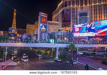 LAS VEGAS - NOV 08 : View of the strip in Las Vegas on November 08 2016. The Las Vegas Strip is an approximately 4.2-mile (6.8 km) stretch of Las Vegas Boulevard in Clark County Nevada.