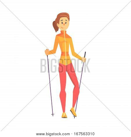 Blond Girl With Ponytail Doing Nordic Walk Outdoors Illustration. Finnish Walking Outdoors Sportive Workout Cute Cartoon Vector Drawing.