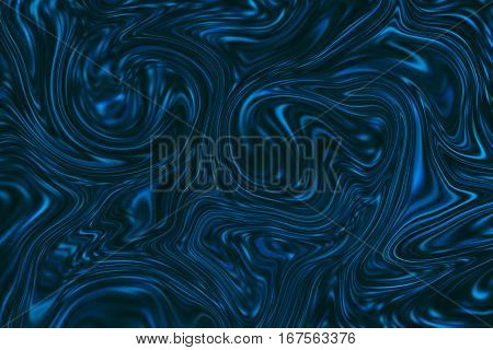 Marble abstract background. Mesh liquid surface digital illustration. Agate stone texture with dark blue paint drips. Suminagashi marbling paper. Abstract color mixture for web design or digital paper