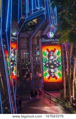 LAS VEGAS - NOV 08 : The Cosmopolitan hotel casino interior in Las Vegas on November 08 2016. The Cosmopolitan opened in 2010 and it has 2995 rooms and 75000 sq ft casino.