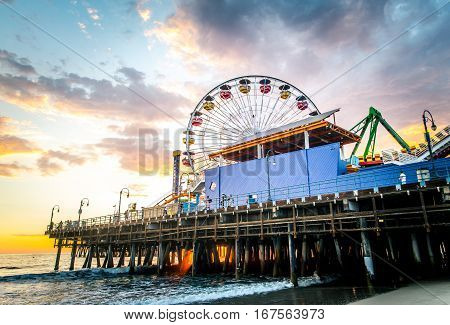 Santa Monica pier at sunset Los Angeles