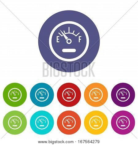 Fuel sensor set icons in different colors isolated on white background