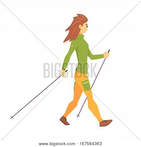 Woman In Green Top With Cap Doing Nordic Walk Outdoors Illustration. Finnish Walking Outdoors Sportive Workout Cute Cartoon Vector Drawing.