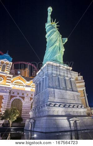 LAS VEGAS - NOV 24 : Replica of the Statue of Liberty of New York hotel in Las Vegas on November 24 2016 This hotel simulates the New York City skyline and It was opened in 1997.