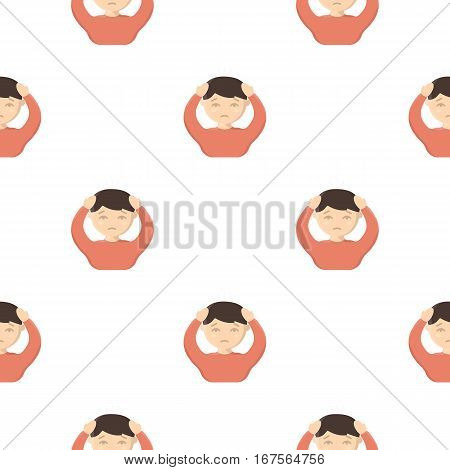 Headache icon cartoon. Single sick icon from the big ill, disease cartoon. - stock vector