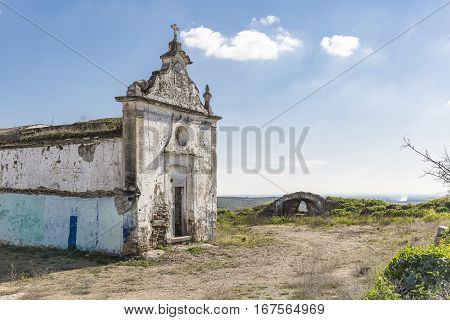 ruins of an abandoned church in Campo Maior city, Portalegre district, Portugal