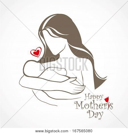Mother and baby stylized vector symbol mom hugs her child. Hand drawn silhouette. Happy Mothers Day celebration. Vector Lettering design.