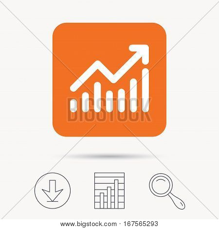 Graph icon. Business analytics chart symbol. Report chart, download and magnifier search signs. Orange square button with web icon. Vector