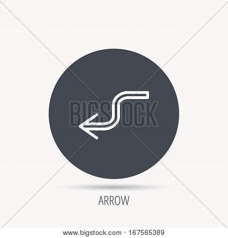Arrow back icon. Previous sign. Left direction symbol. Round web button with flat icon. Vector