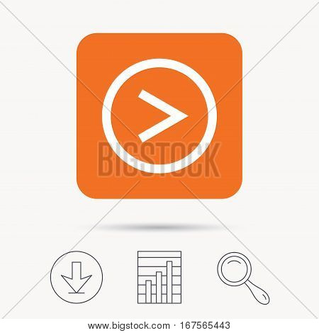 Arrow icon. Next navigation symbol. Report chart, download and magnifier search signs. Orange square button with web icon. Vector