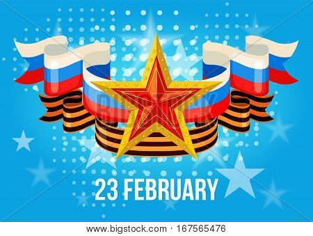 Greeting card for holiday on 23 February, Defender of the Fatherland Day. Vector illustration. poster