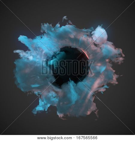 Abstract chemical blue dust wave with glowing ball in the middle 3d rendering